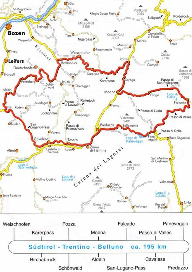 L'itinerario Alto Adige-Trentino-Belluno (ca. 195 km)