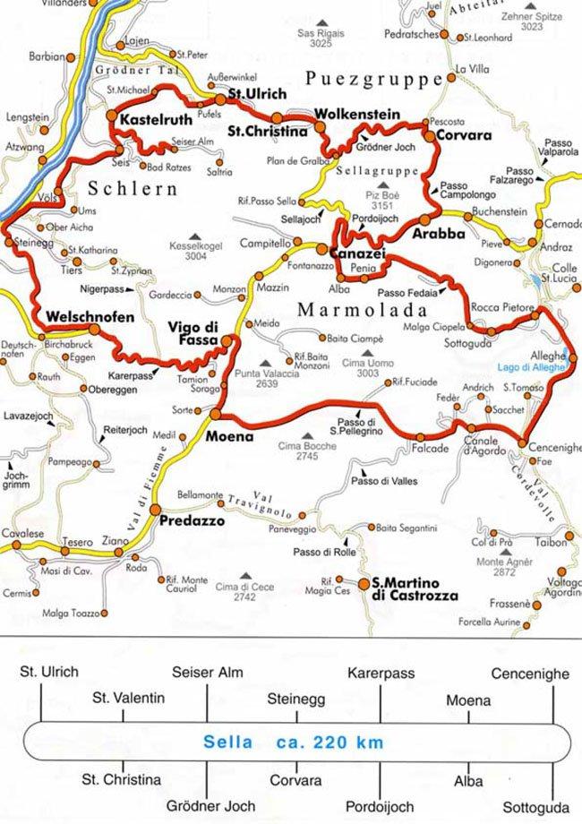 Tour circolare del Sella (220 km)